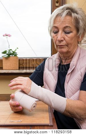 Senior Adult With Arm Bandage
