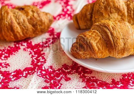 Croissants, Big, Delicious Croissants On A Table. Fresh Bakery
