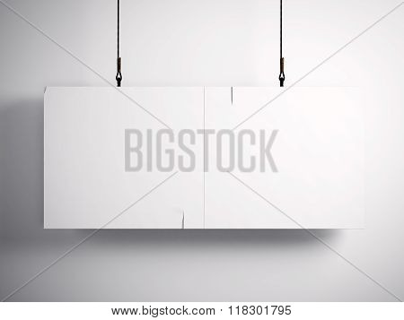 Photo of blank vintage canvas hanging on the white background. 3d render