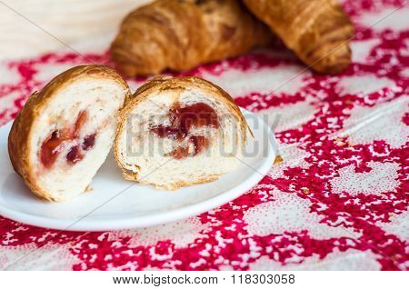 Half A Croissant, Big, Delicious Croissants On A Table. Fresh Bakery