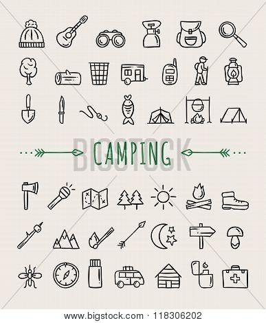 Hand drawn doodle camping and tourism icons. Nature activities: walking, fishing, sport orienteering