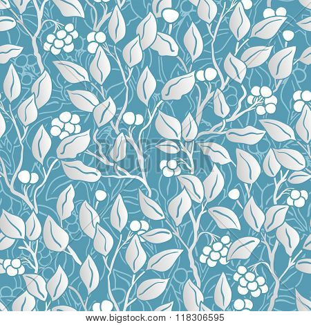 hand painted eaves seamless floral pattern vector background. Leaf pattern. Doodle vector pattern. Pastel blue and silver.