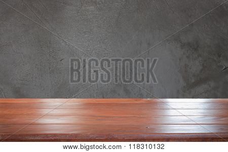 Old Empty Wooden Table Top With Grey Background