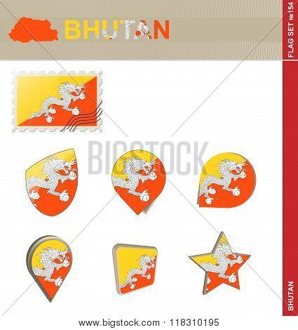 Bhutan Flag Set, Flag Set #154