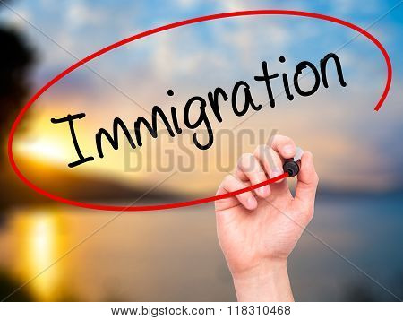 Man Hand Writing Immigration With Black Marker On Visual Screen