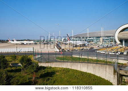PARIS - SEPTEMBER 10, 2014: view of Charles de Gaulle Airport. Paris Charles de Gaulle Airport, also known as Roissy Airport, is one of the world's principal aviation centres.