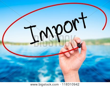 Man Hand Writing Import With Black Marker On Visual Screen