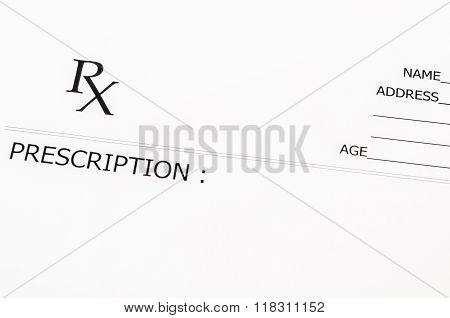 Blank Prescription Form.