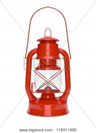 Red kerosene oil lamp on a white background