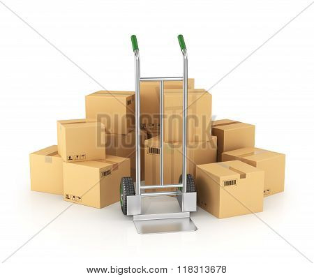 Piles Of Cardboard Boxes With Hand Truck On White Background.