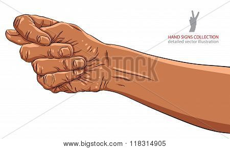 Fig fico hand sign African ethnicity detailed vector illustration.