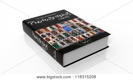 Hardcover book on Photography with illustration on cover, isolated on white background.