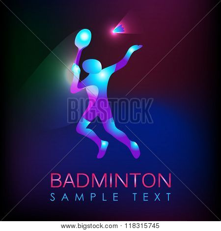 Abstract silhouette of a badminton player