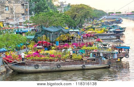 Close up flowers along the river boat trade Tet