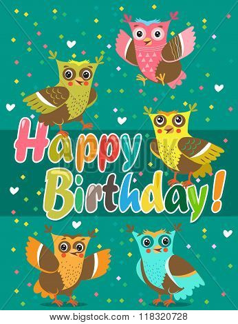 Funny Owl. Owls. Vector Owls. Birds. Night Birds. Congratulation. Vector Pattern. Card.