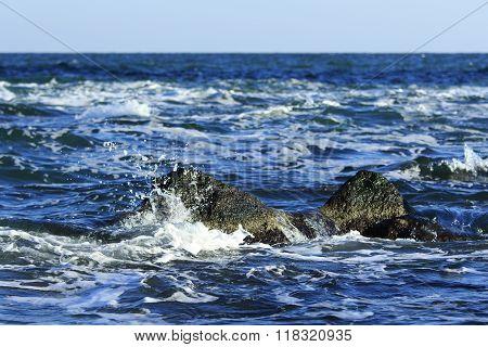 Sea Crashes On Rocks