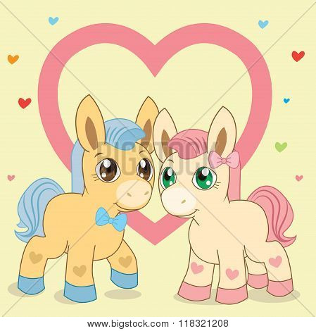 Two Ponies. Favorite Ponies. Lovely Pony. Vector Pony. Pony And Heart. Blue Pony. Pink Pony. Fabulous Pony. Vector Horses. The Picture On A Beige Background. Blue Mane. Pink Mane. Vector Handsome.