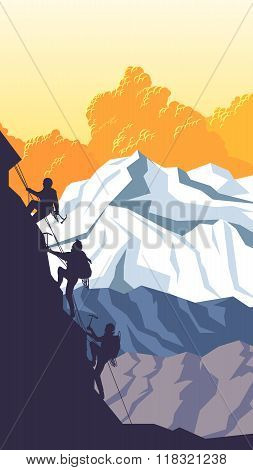 Vertical Cartoon Illustration Of Alpinists.