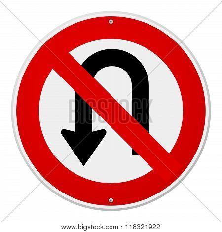 Circular No U-turn Sign