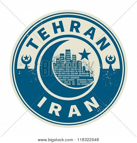 Stamp With Text Tehran, Iran Inside
