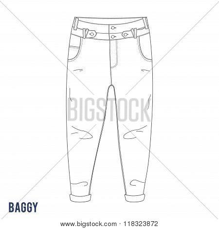 Baggy jeans vector