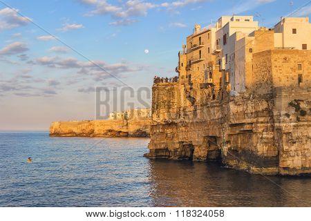 Apulia coast. Polignano a summer evening: a panoramic view-ITALY(Bari)-