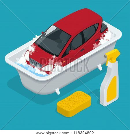 Car Washing. car wash service.  Car with Car wash Sign. Flat 3d isometric vector illustration.