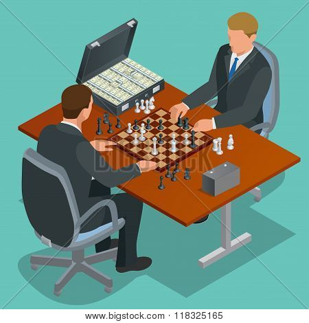 Chess players. Two man sitting and playing chess. Chess strategy. Flat 3d vector isometric illustrat