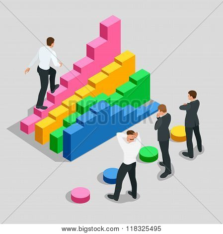Concept of success and determination in business. Businessman in black suit climbing the stairs of s