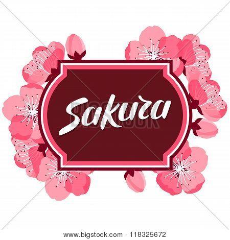 Japanese sakura background with stylized flowers. Image for holiday invitations, greeting cards, pos