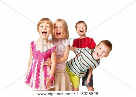 Group Of Little Children Having Fun.
