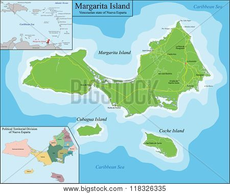 Map of Margarita Island