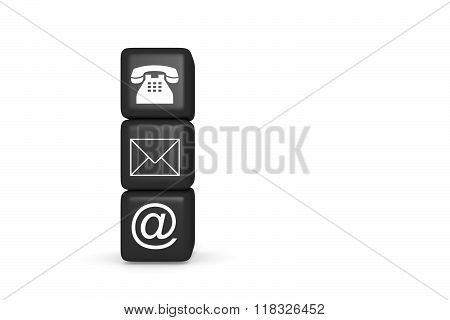 Contact us: black cubes on a white background