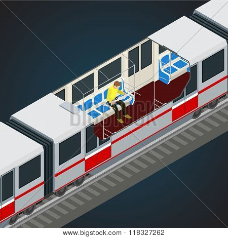 Interior view of a subway car. Train, Subway. Transport. Vehicles designed to carry large numbers of