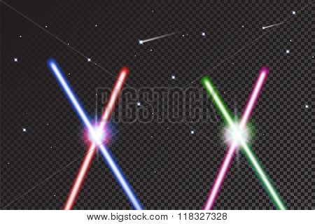 Crossed light swords on isolated black background with stars. Realistic bright colorful laser beams.