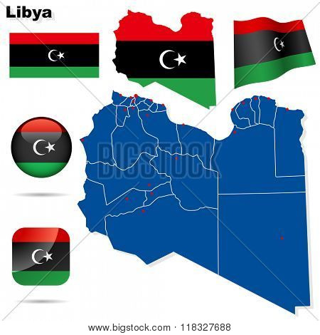 Libya set. Detailed country shape with region borders, flags and icons isolated on white background. Flag of National Transitional Council (2011).