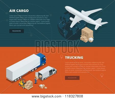Logistic concept flat banners of air cargo, trucking. On-time delivery. Delivery and logistic. Vecto