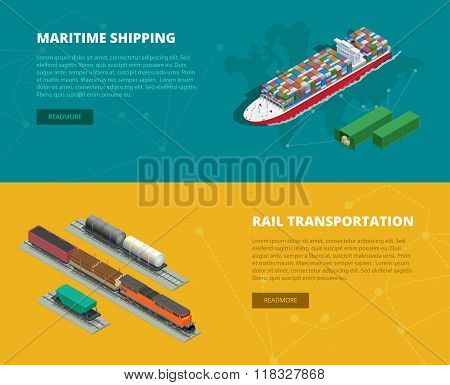 Logistic concept flat banners of maritime shipping, rail transportation. On-time delivery. Delivery