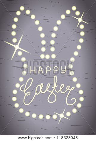 Happy Easter, Line Lettering In Shining Bunny Head Frame