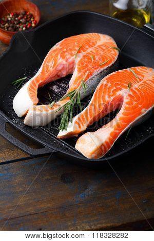 Steak Salmon On A Griddle Pan