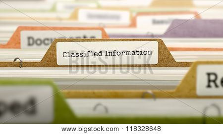 Folder in Catalog Marked as Classified Information.