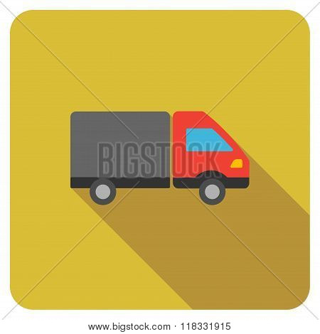 Shipment Flat Rounded Square Icon with Long Shadow
