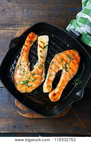 Grilled Red Fish Steak On A Griddle