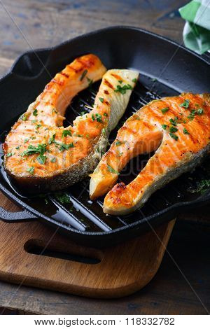 Grilled Salmon On A Griddle Pan
