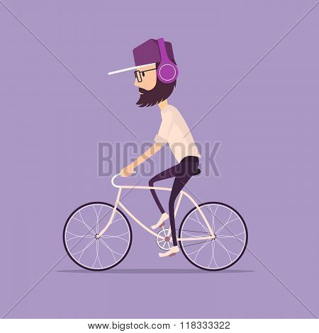 man in a baseball cap riding a vintage bicycle