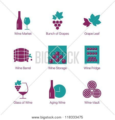 Outline linear stroke thin line wine icons
