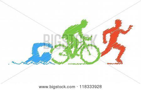 Colored Pencil Drawing Of The Logo Triathlon. Figures Triathlete