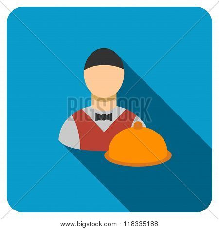 Waiter Flat Rounded Square Icon with Long Shadow