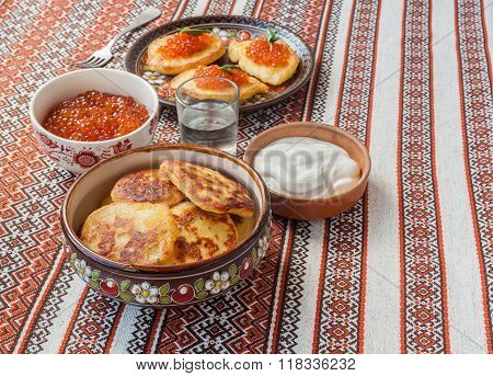 Red Caviar And Thick Potato Pancakes At Shrovetide (mass Produced Products)