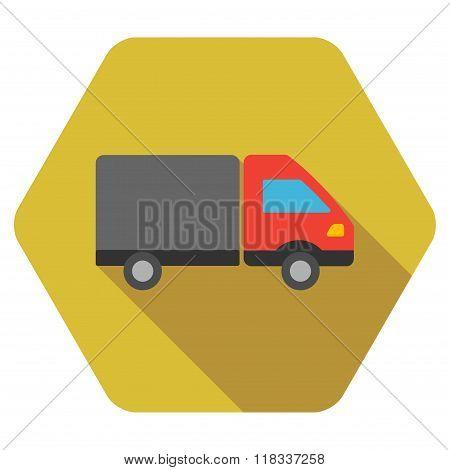 Shipment Flat Hexagon Icon with Long Shadow